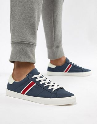 Pull&Bear Canvas Trainer With Side Stripe In Navy