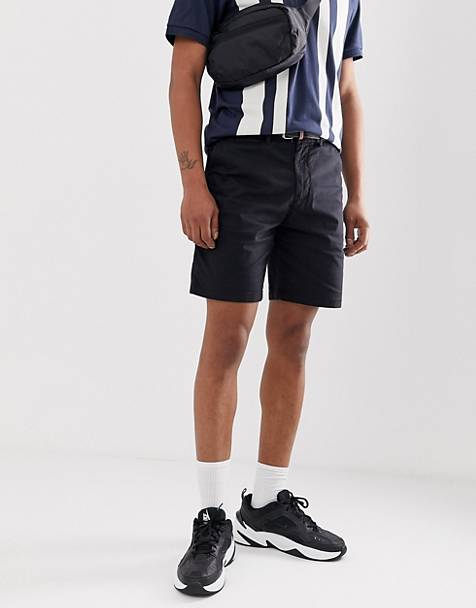 Pull&Bear chino shorts in black with belt