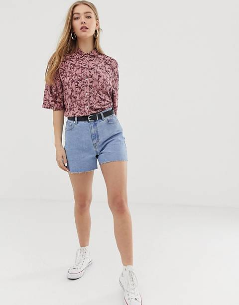 Pull&Bear clean mom short in light blue