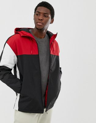Pull&Bear color block hooded jacket in red