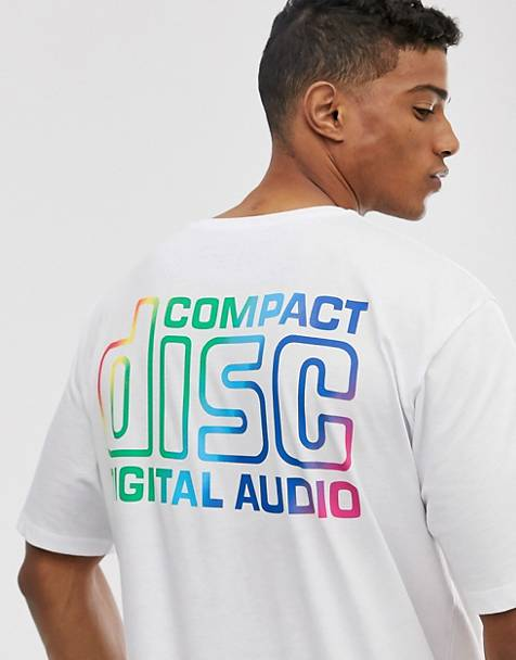 Pull&Bear Compact Disc t-shirt in white