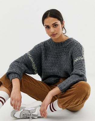 Image 1 of Pull&Bear contrast stitch oversized jumper in grey