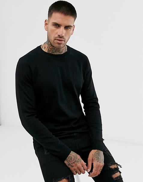 Pull&Bear crew neck lightweight sweater in black
