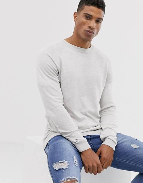 Pull&Bear crew neck sweater in white pearl