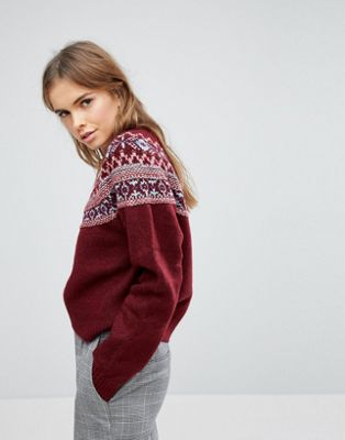 Pull&Bear Crop Pattern Jumper