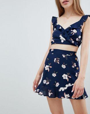 Pull&Bear dark floral skirt in multi