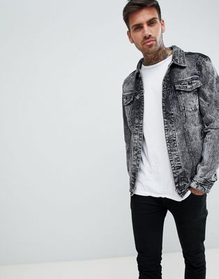 Pull&Bear Denim Jacket In Acid Wash Black