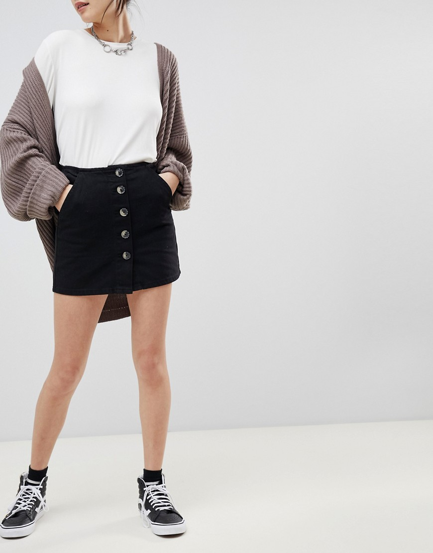 Pull&Bear Denim Mini Skirt With Tortoise Buttons by Pull&Bear