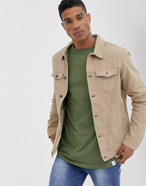 Pull&Bear denim trucker jacket in stone