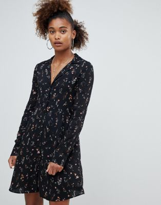 Pull&bear ditsy floral print swing shirt dress