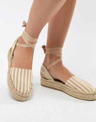 Image 1 of Pull&Bear espadrille with tie ankle