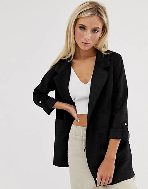Pull&Bear faux suede throwon jacket in black