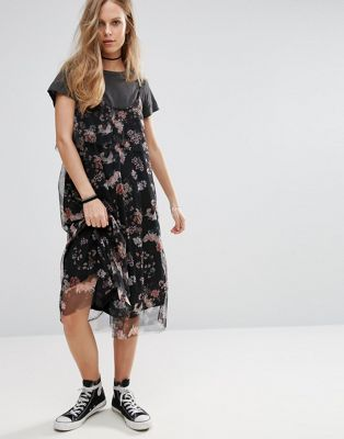 Pull&Bear Floral Print Mesh Midi Dress