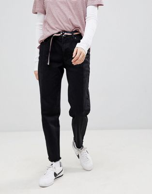 Pull&Bear Freyed Hem 2 Tone Black Mom Jean