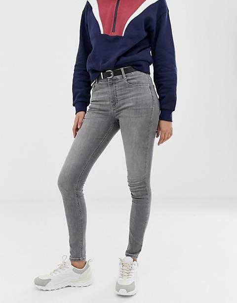 Pull&Bear – Graue Skinny-Jeans mit mittelhohem Bund