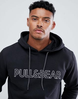 Pull&Bear hoodie in black with logo