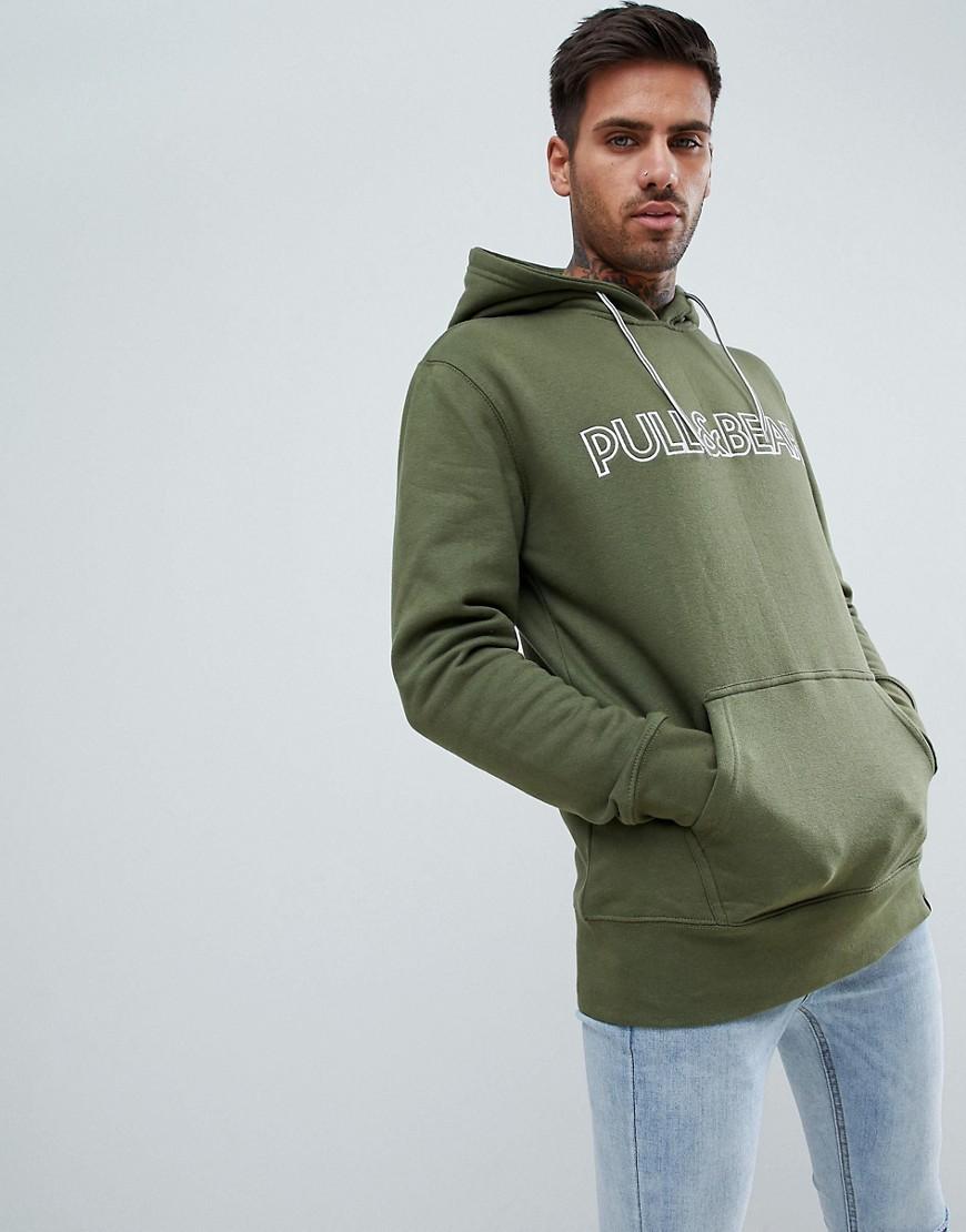 pull&bear---hoodie-in-kaki-met-logo by asos