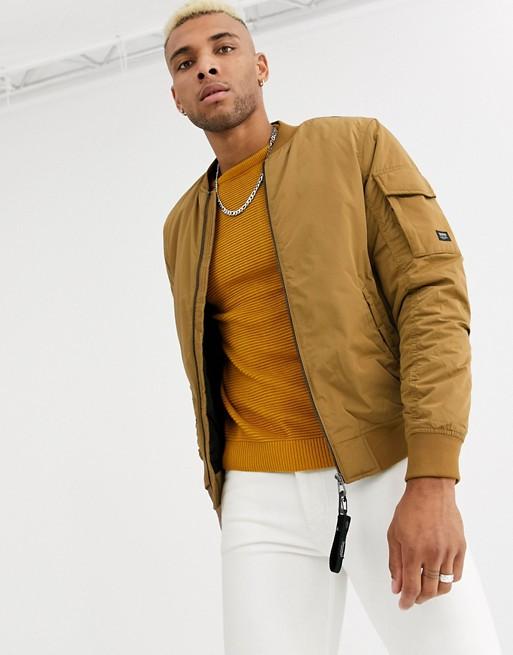 Pull&Bear Join Life padded bomber jacket in mustard   ASOS
