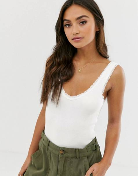 Pull&Bear lace edge tank in white