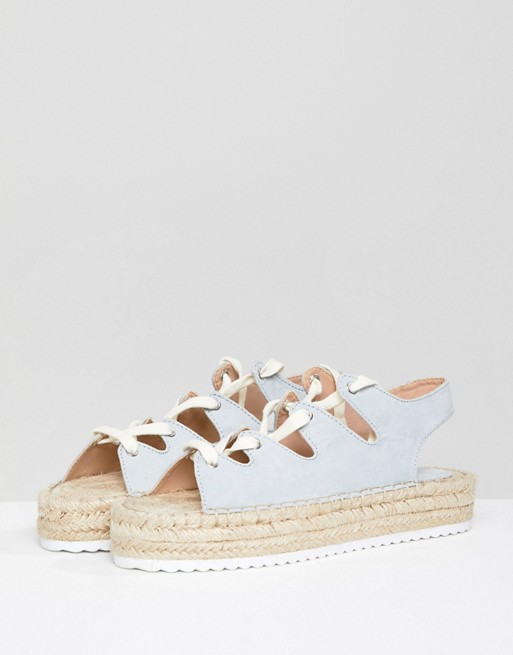 51d0badf0 Pull&Bear lace up espadrille in blue | ASOS