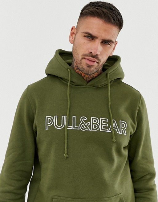 Pull&Bear logo hoodie in khaki