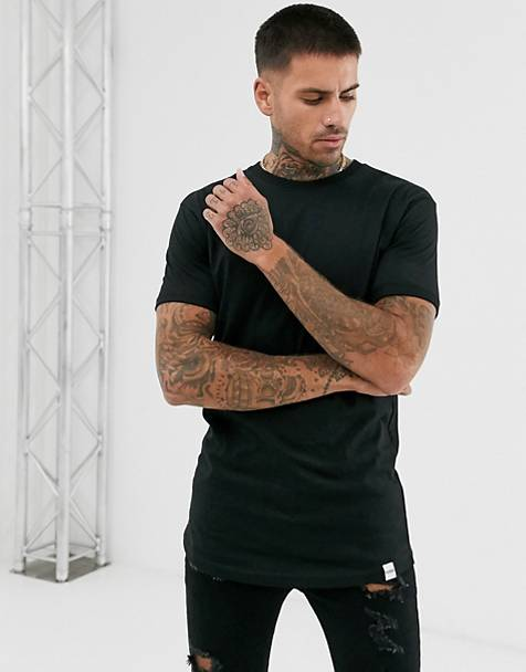 Pull&Bear long line fit t-shirt in black