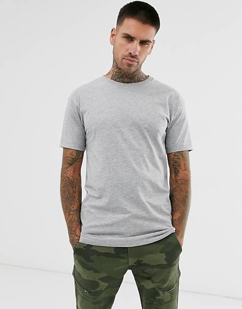 Pull&Bear long line fit t-shirt in gray