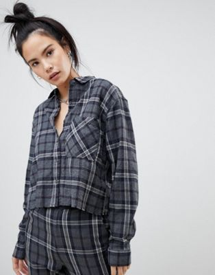 Pull&bear longline shirt co-ord in grey