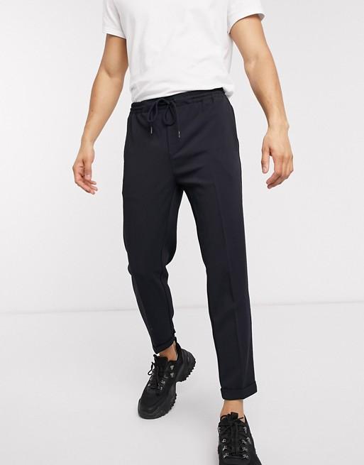 Pull&Bear - Marineblå bukser med opsmøg