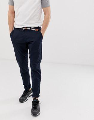 Pull&Bear – Marineblaue Chino-Hose in schmaler Passform
