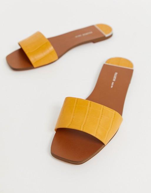 Pull&Bear moc croc mule sandals in yellow