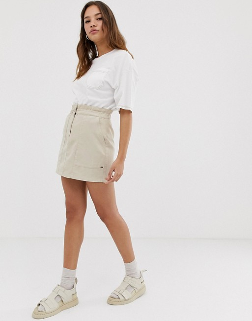 Pull&Bear pacific elastic top skirt in beige