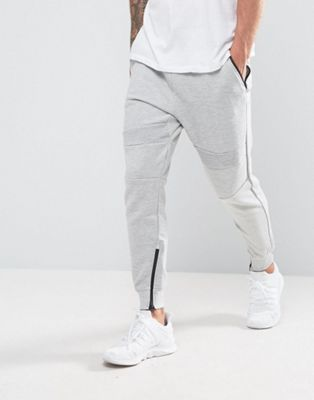 Pull&Bear Panel Joggers With Zip Hem In Light Grey
