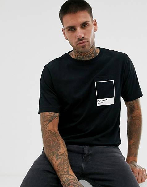 Pull&Bear Pantone t-shirt with chest print in black
