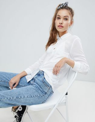 Image 1 of Pull&bear pocket front shirt in white