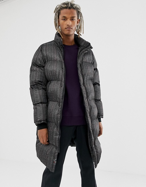 Image 1 of Pull&Bear puffer jacket in black check