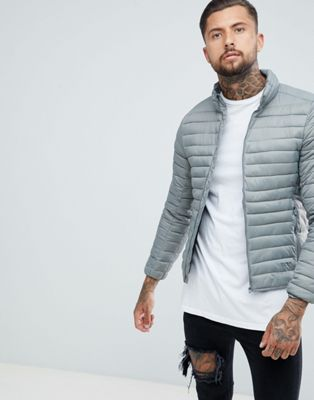 Pull&Bear Quilted Jacket In Grey