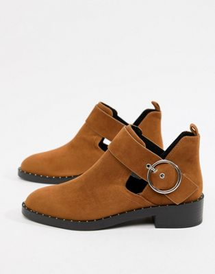 Pull&Bear round buckle cutout boot