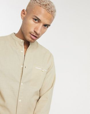 Pull&Bear stripe shirt with grandad collar in light blue - ASOS Price Checker