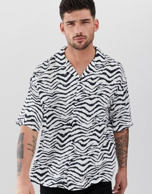 Image 1 of Pull&Bear short sleeve shirt in zebra print
