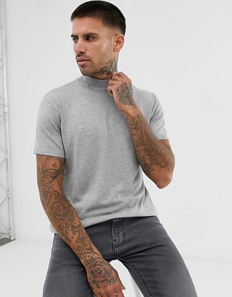 Pull&Bear short sleeve turtleneck sweater in gray