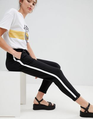 Pull&Bear side stripe jogger pant in Black