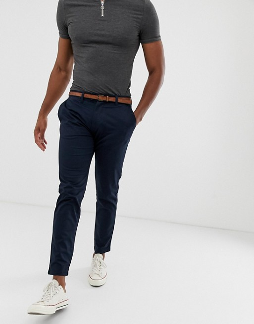 Image 1 of Pull&Bear skinny chino with belt in navy blue