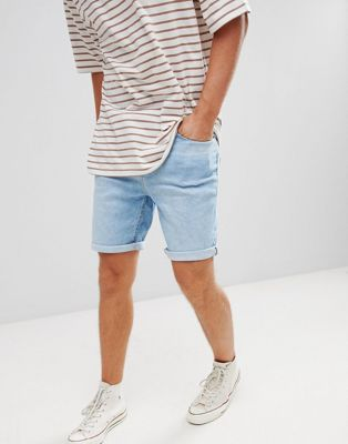 Pull&Bear Skinny Fit Denim Shorts In Light Blue