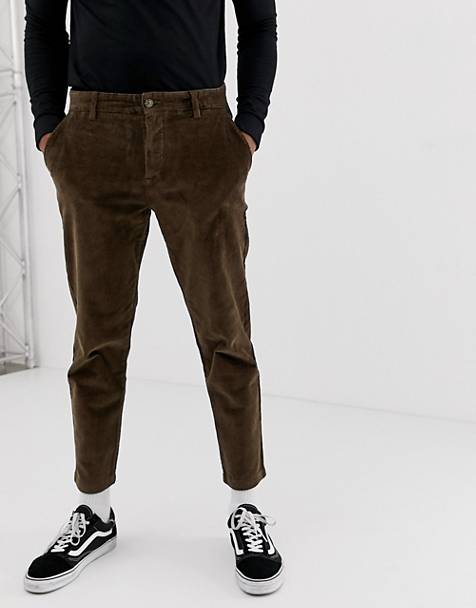 Pull&Bear slim fit cord pants in brown