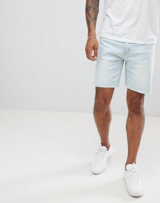 Pull&Bear Slim Fit Denim Shorts In Light Blue