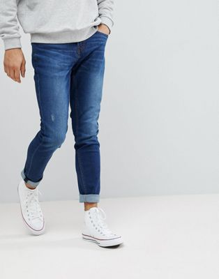 Pull&Bear Slim Jeans In Dark Blue