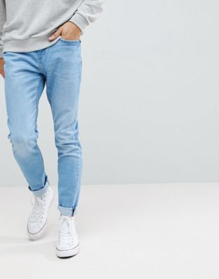 Pull&Bear Slim Jeans In Light Blue