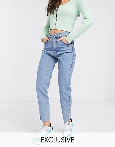 Pull&Bear slim mom stretch jeans in dark blue