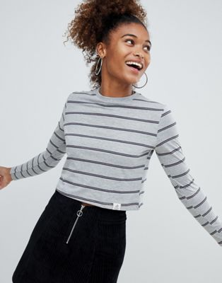 Pull&bear stripe grey crop long sleeve top